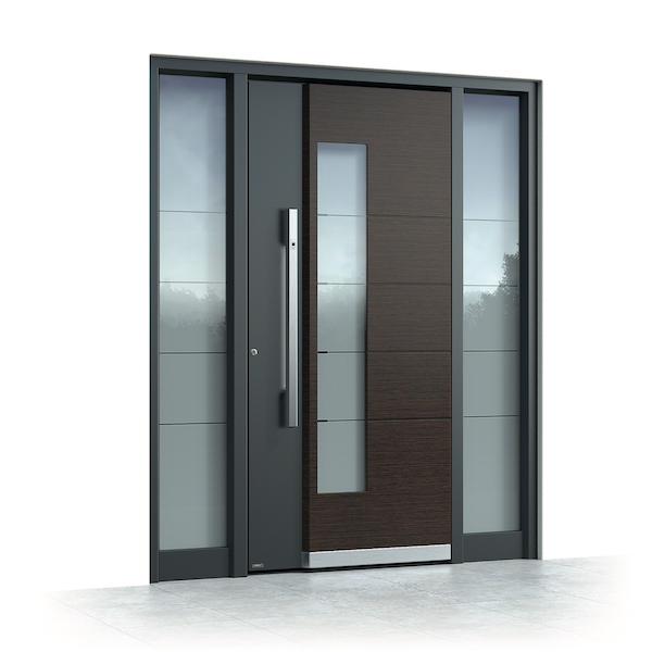 Aluminium front door with double-sided sidelights
