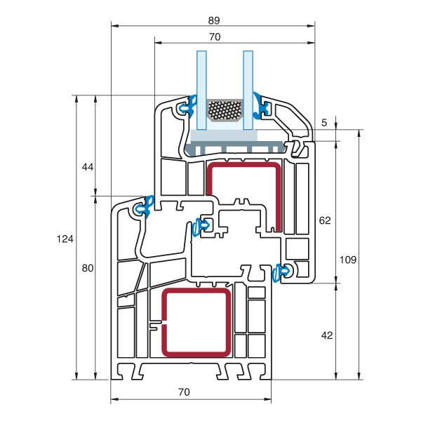 Ideal 5000 semi-recessed detailed cross section view